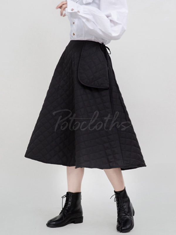Black Large Pocket Thickening A-Line Skirt