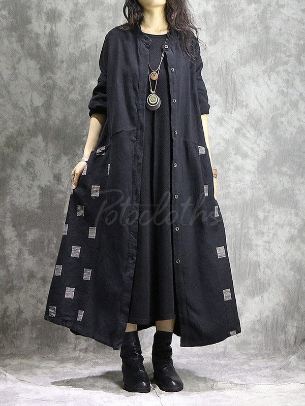 Vintage Geometry Split-joint Cape Dress