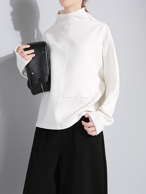 Original Solid High-neck Batwing Sleeves Sweatshirt