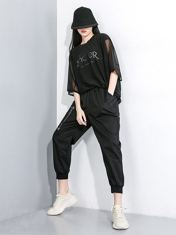 Loose Elastic Waist Design Tooling Harem Pants