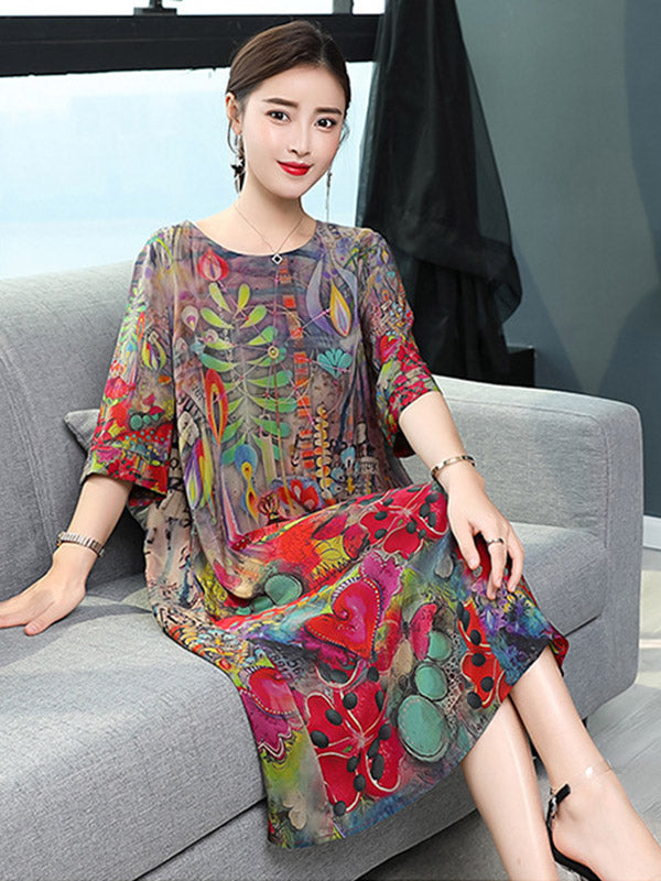 4986155a0 Casual National Style Mulberry Silk Long Dress ...