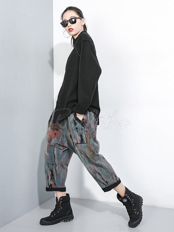 Graffiti Elastic Waist Thicken Casual Harem Pants