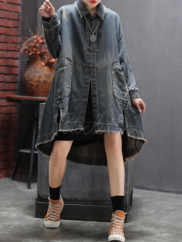 Loose Split-side Denim Outwear