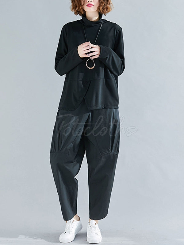 Solid Color Split-Front Long-Sleeved T-Shirt And Pants Suits
