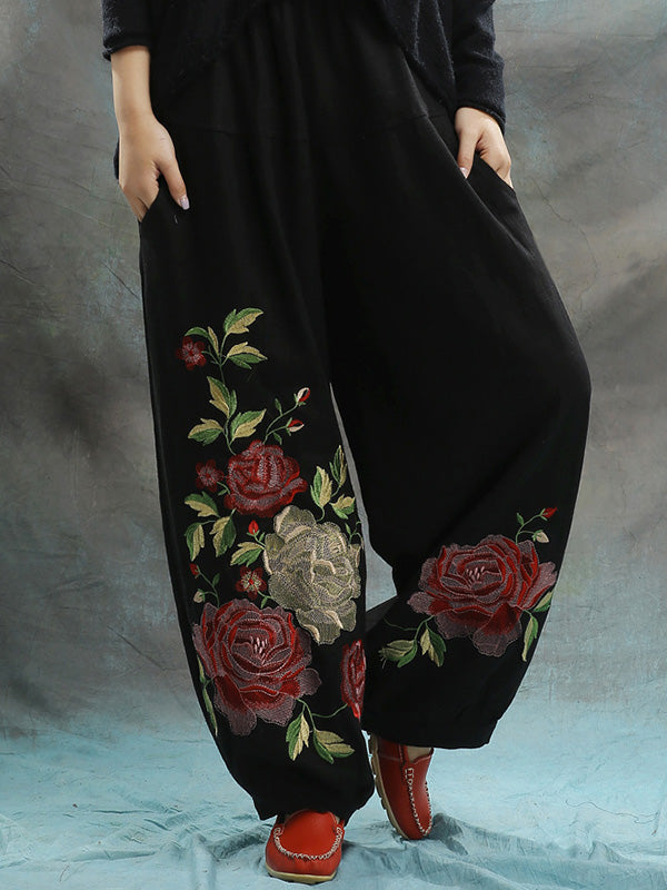 Linen Embroidered Elastic Loose Plus Size Pants
