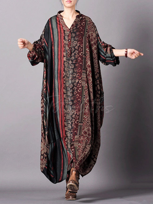 Super Loose Silk Vintage Long Dress
