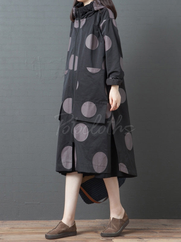 Polka-Dot High Neck Casual Mid-Length Hood Coat