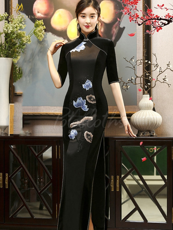 Floral Velvet Improved Long Cheongsams