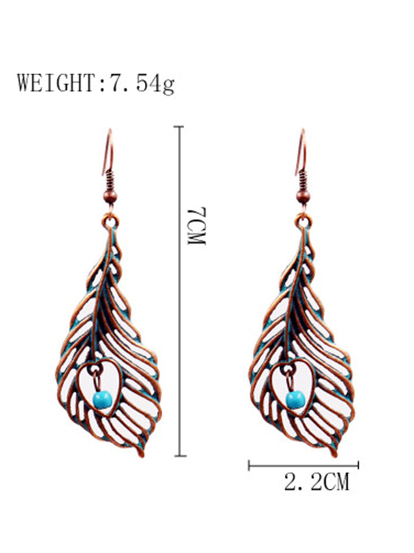 Leaf Pattern Alloy Earrings Accessories