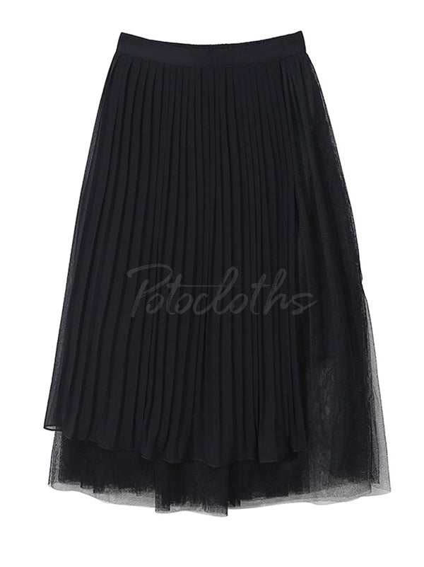 Pleated Cropped Splicing Mesh Skirt