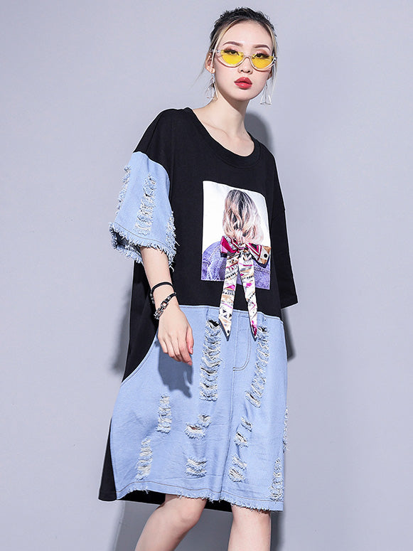 Loose Split-joint Long Shirt Dress
