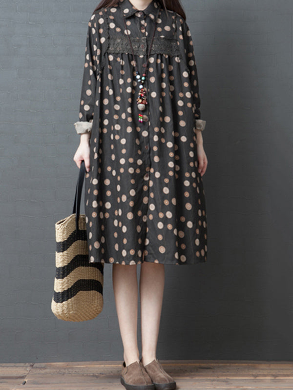 Loose Plus Size Polka-dot Fresh Shirt Midi Dresses
