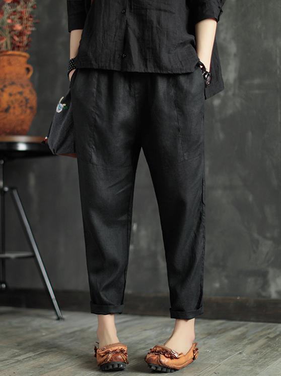 Loose Elastic Waist Ramie Cotton Pants