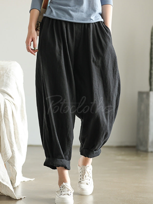 Loose Ramie Bloomer Pants