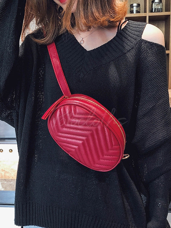 Wave Pattern Rhombic One Shoulder Chain Bag