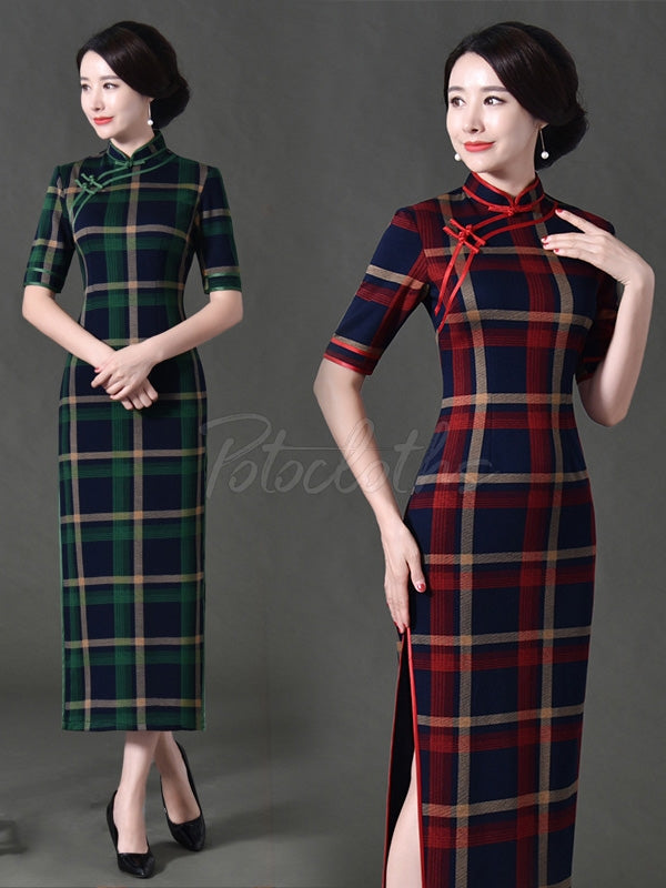 Vintage Plaid Split-Side Long Cheongsams