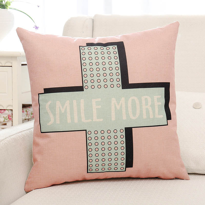 Smile More Letter Printed Pillow Case