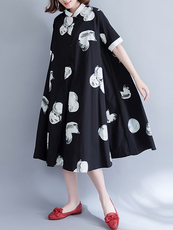 Loose Polka-dot Printed Long Dress
