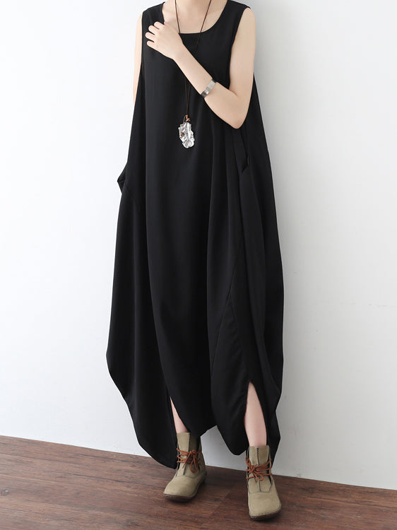 Black Round-neck Split-front Sleeveless Jumpsuits