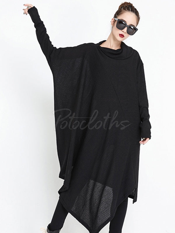 Loose Cropped Solid Goth Midi Dress