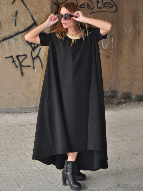 Black Round-neck High-low Short-sleeves Long Dress