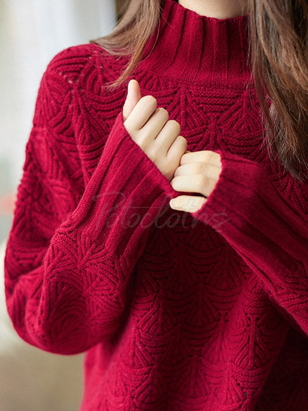 Lazy Style Hollow Thickening Half-Neck Sweater