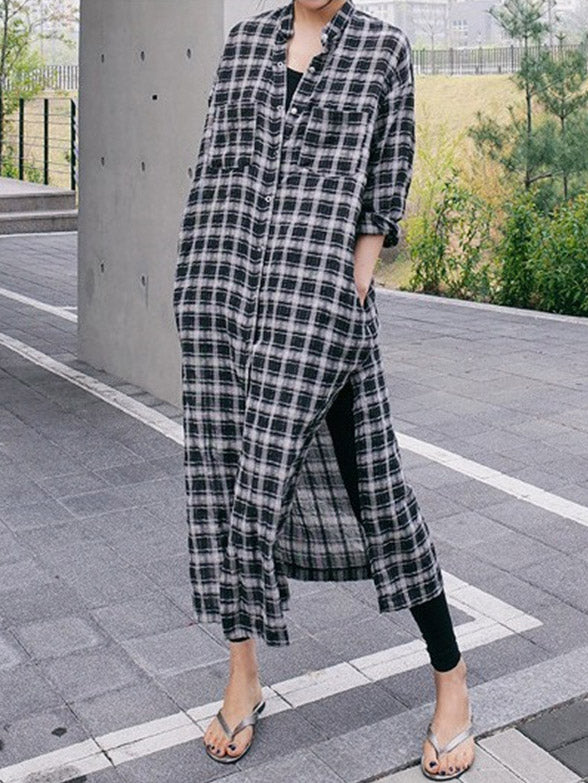 Loose Split-side Long Plaid Cover-up