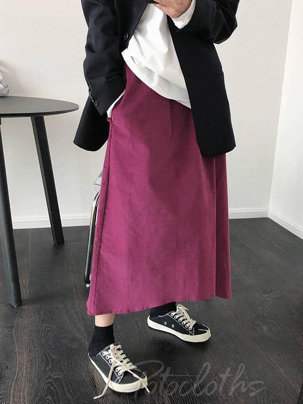 Solid Color Loose A-Line Empire Skirt