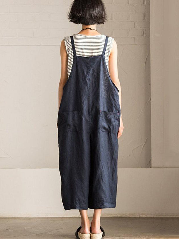 Loose Vintage Navy Blue Wide Leg Jumpsuits