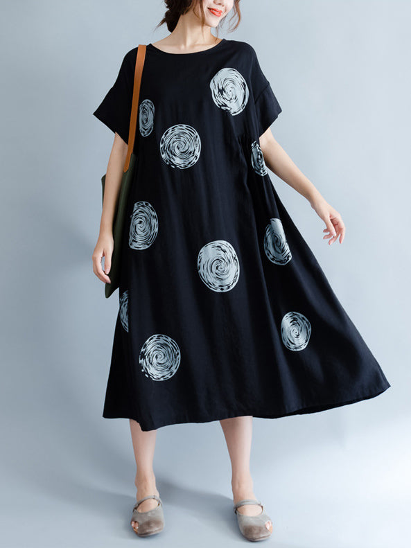 Black Polka-Dot Print Round-neck Midi Dress