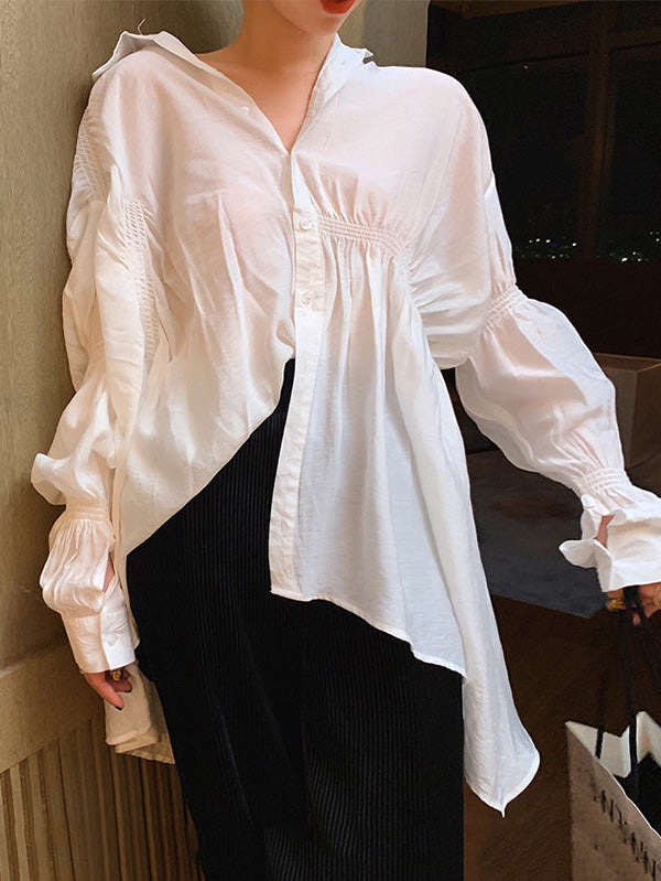 Elegant Irregular Puff Sleeve Shirt