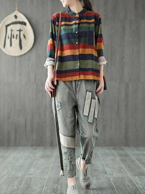 Loose Colorful Stripe A-line Shirt