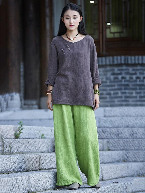 6Color Casual National Style Double Cotton Pants