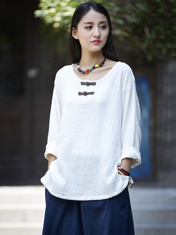 817bb2c7d National Style Round-neck Linen Frog Shirt ...