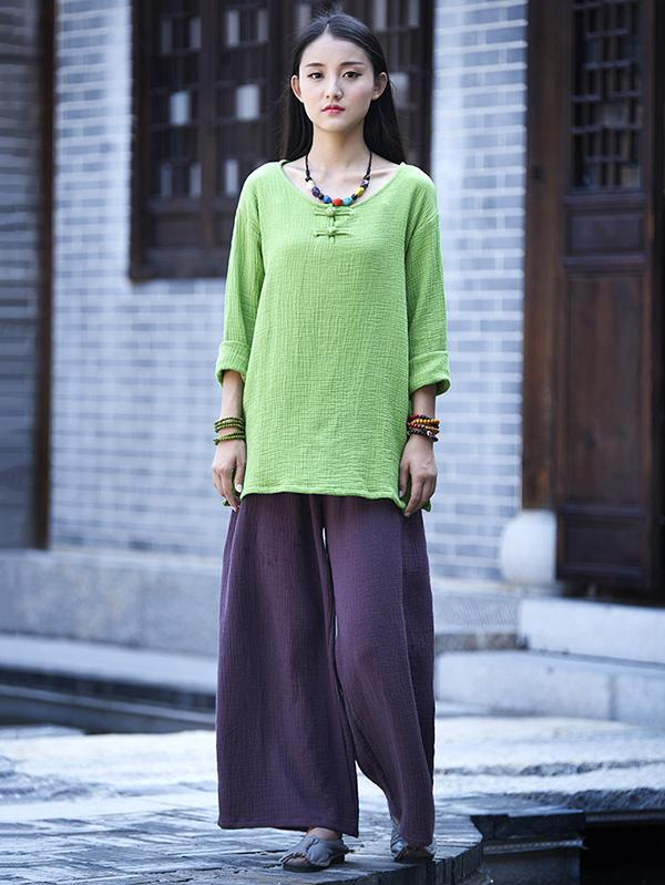National Style Round-neck Linen Frog Shirt