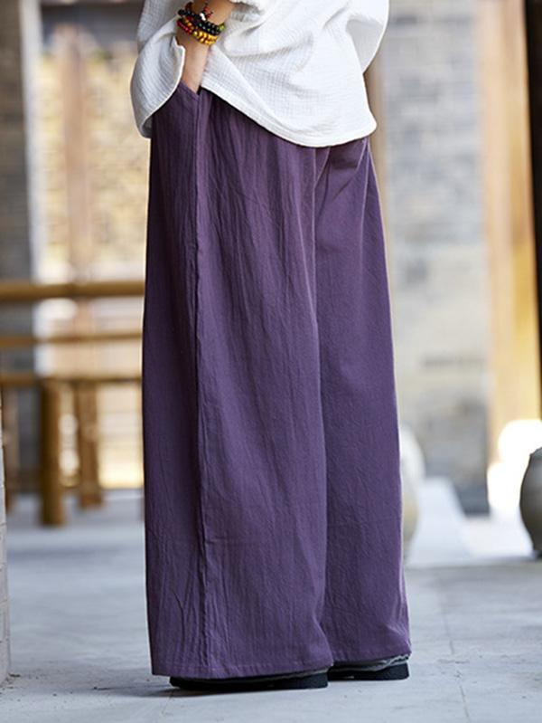 Casual National Style Cotton Pants