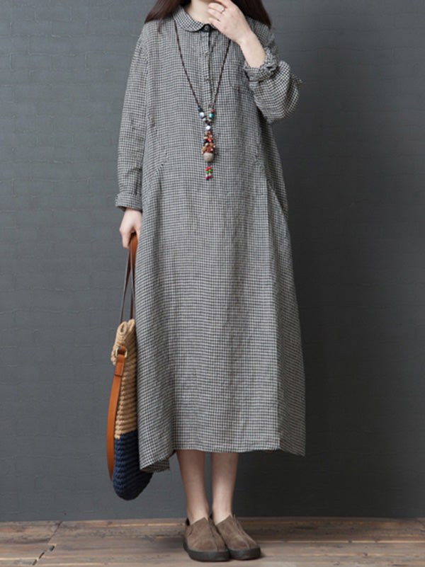 Linen Plaid Plus Size Loose Shirt Midi Dresses