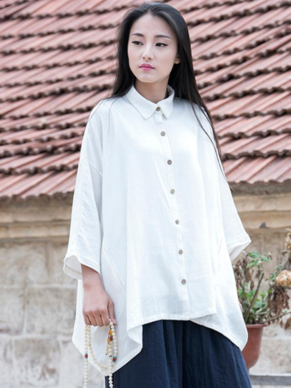 Vintage Simple Ramie Cotton Outwear Tops