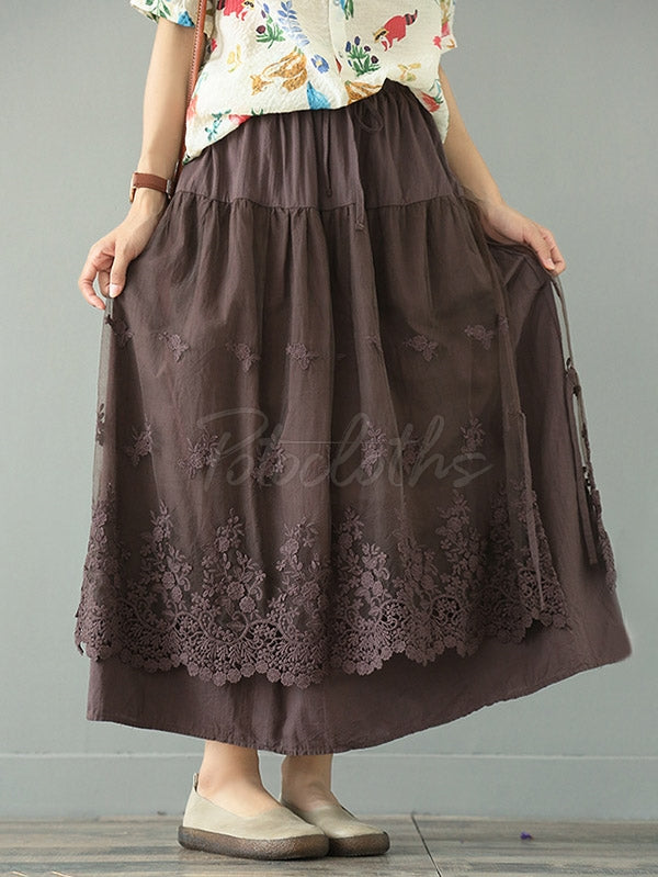 Loose Tiered Gauze Embroidered Lace Skirt