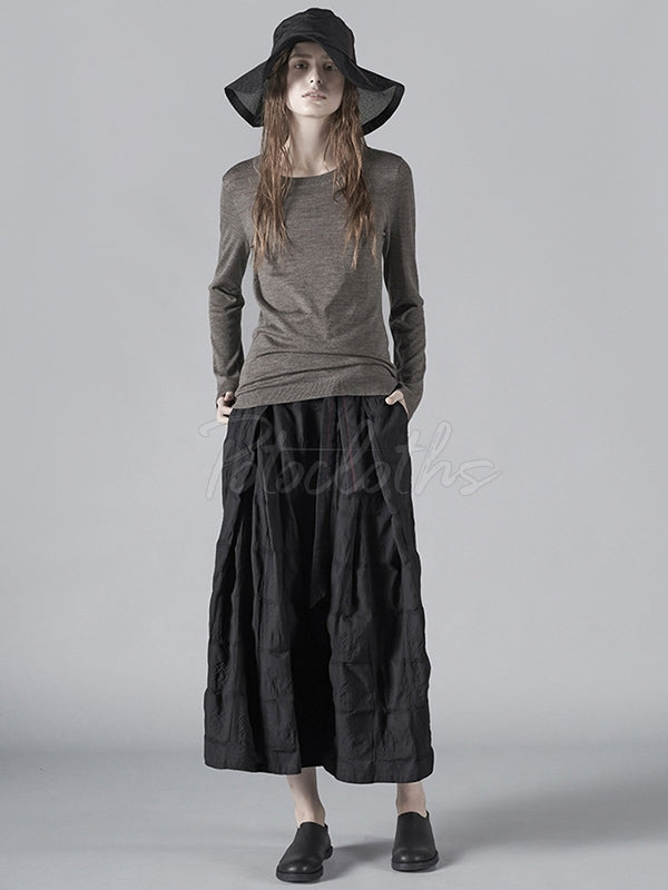 Simple Drawstring A-line Skirt