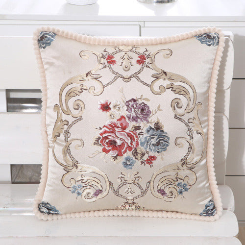 Floral Embroidered Pillow Case