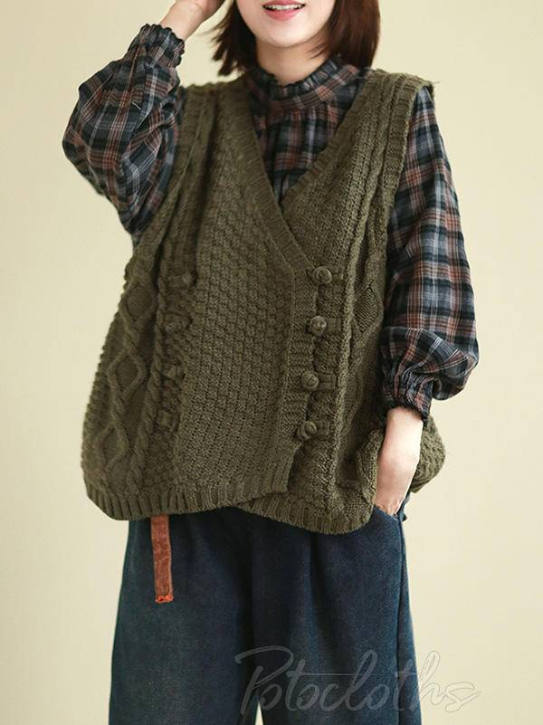 Vintage Loose Button Cropped V-Neck Vest