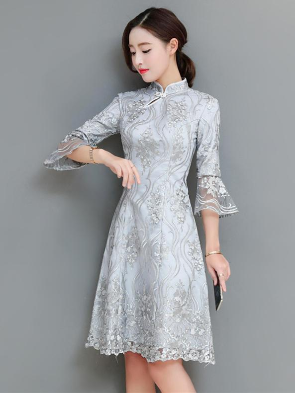 Gray Lace Flared Sleeves Short Cheongsam
