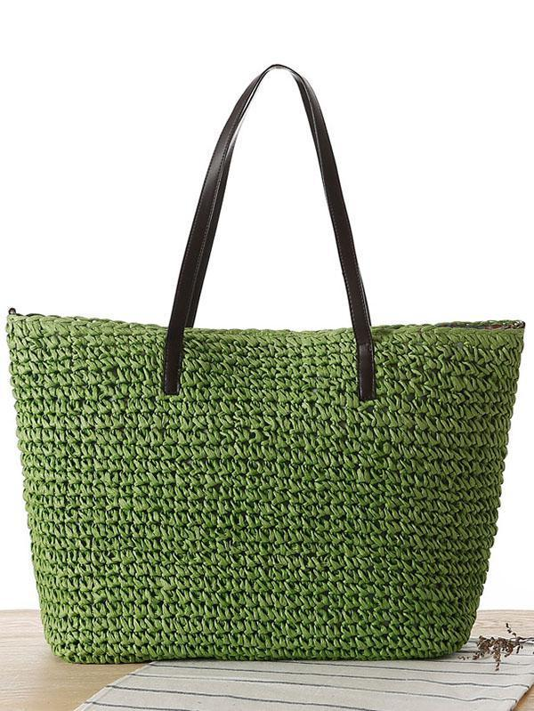 Simple Straw Plaited Article Bohemia Bag