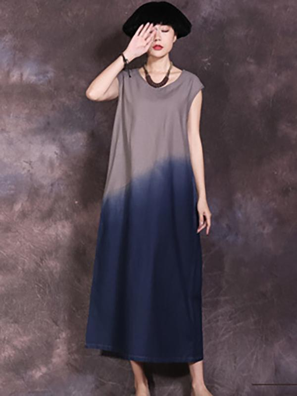 Loose Gradient Off-sleeves  A-line Maxi Dress