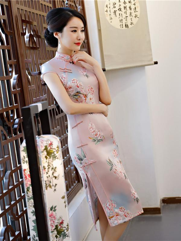 Pink Flower Embroidered Side Split Short Cheongsam