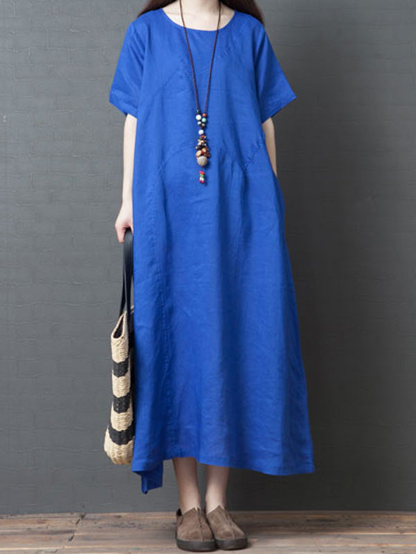 Loose Pure Color Long Dress