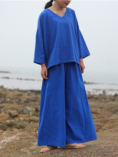 Blue V-neck Loose Comfortable Wide Leg Pants