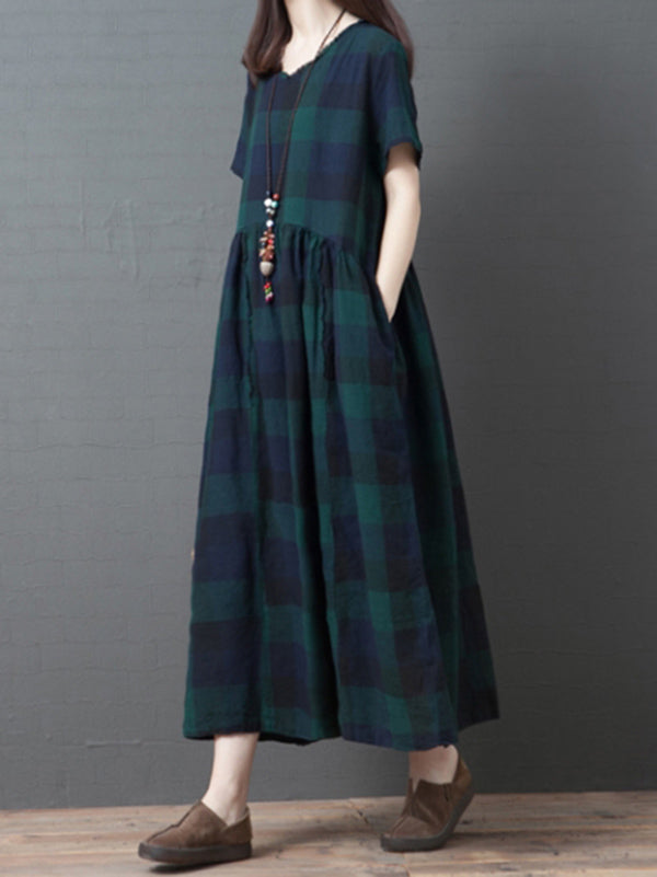 Oversize Plaid Fashion Dress