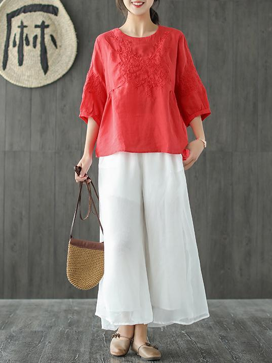 Loose Embroidered Comfortable T-shirt
